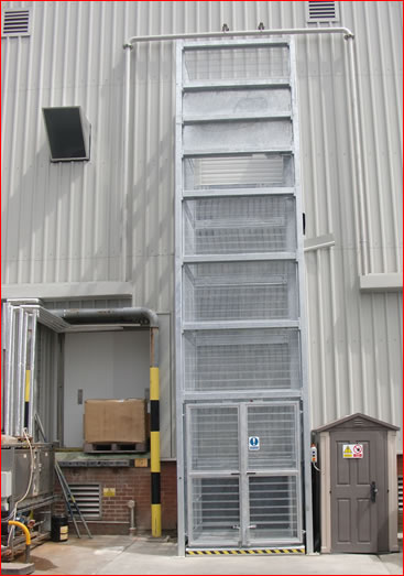 Galvanised Goods Lift installed and commission 2000kg for a frozen food company in Norfolk